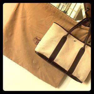 Hermès Garden Party 36 Cream Canvas Brown Leather